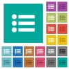 Bullet list square flat multi colored icons - Bullet list multi colored flat icons on plain square backgrounds. Included white and darker icon variations for hover or active effects.