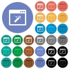 Application wizard round flat multi colored icons - Application wizard multi colored flat icons on round backgrounds. Included white, light and dark icon variations for hover and active status effects, and bonus shades on black backgounds.