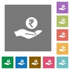 Rupee earnings square flat icons - Rupee earnings flat icons on simple color square backgrounds