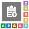 Voice note square flat icons - Voice note flat icons on simple color square backgrounds