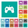Game controller square flat multi colored icons - Game controller multi colored flat icons on plain square backgrounds. Included white and darker icon variations for hover or active effects.