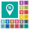 Workshop service GPS map location square flat multi colored icons - Workshop service GPS map location multi colored flat icons on plain square backgrounds. Included white and darker icon variations for hover or active effects.