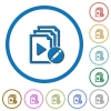 Rename playlist icons with shadows and outlines - Rename playlist flat color vector icons with shadows in round outlines on white background