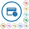Credit card transaction templates icons with shadows and outlines - Credit card transaction templates flat color vector icons with shadows in round outlines on white background
