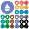 Sailboat round flat multi colored icons - Sailboat multi colored flat icons on round backgrounds. Included white, light and dark icon variations for hover and active status effects, and bonus shades on black backgounds.