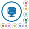 Network database icons with shadows and outlines - Network database flat color vector icons with shadows in round outlines on white background