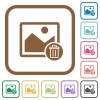 Delete image simple icons - Delete image simple icons in color rounded square frames on white background