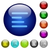 Text align left icons on round color glass buttons - Text align left color glass buttons