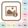 Image info simple icons - Image info simple icons in color rounded square frames on white background