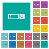 Search box square flat multi colored icons - Search box multi colored flat icons on plain square backgrounds. Included white and darker icon variations for hover or active effects.