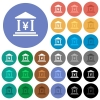 Yen bank office round flat multi colored icons - Yen bank office multi colored flat icons on round backgrounds. Included white, light and dark icon variations for hover and active status effects, and bonus shades on black backgounds.