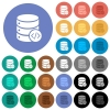 Database programming round flat multi colored icons - Database programming multi colored flat icons on round backgrounds. Included white, light and dark icon variations for hover and active status effects, and bonus shades on black backgounds.
