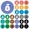 Dollar money bag round flat multi colored icons - Dollar money bag multi colored flat icons on round backgrounds. Included white, light and dark icon variations for hover and active status effects, and bonus shades on black backgounds.
