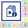 Playlist information flat framed icons - Playlist information flat color icons in square frames on white background