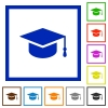 Graduate cap flat framed icons - Graduate cap flat color icons in square frames on white background