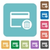Delete credit card rounded square flat icons - Delete credit card white flat icons on color rounded square backgrounds