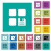 Save component square flat multi colored icons - Save component multi colored flat icons on plain square backgrounds. Included white and darker icon variations for hover or active effects.