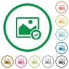 Protected image flat icons with outlines - Protected image flat color icons in round outlines on white background
