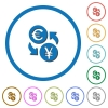 Euro Yen money exchange icons with shadows and outlines - Euro Yen money exchange flat color vector icons with shadows in round outlines on white background