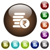 Indian Rupee coins color glass buttons - Indian Rupee coins white icons on round color glass buttons