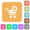 Warranty product purchase flat icons on rounded square vivid color backgrounds. - Warranty product purchase rounded square flat icons