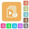 Delete entire playlist rounded square flat icons - Delete entire playlist flat icons on rounded square vivid color backgrounds.