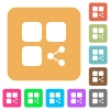 Share component rounded square flat icons - Share component flat icons on rounded square vivid color backgrounds.