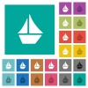 Sailboat square flat multi colored icons - Sailboat multi colored flat icons on plain square backgrounds. Included white and darker icon variations for hover or active effects.