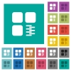 Zip component square flat multi colored icons - Zip component multi colored flat icons on plain square backgrounds. Included white and darker icon variations for hover or active effects.
