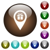 Gift shop GPS map location color glass buttons - Gift shop GPS map location white icons on round color glass buttons