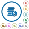 Dollar coins icons with shadows and outlines - Dollar coins flat color vector icons with shadows in round outlines on white background