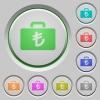 Turkish Lira bag push buttons - Turkish Lira bag color icons on sunk push buttons