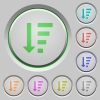 Descending ordered list mode push buttons - Descending ordered list mode color icons on sunk push buttons