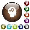 User settings color glass buttons - User settings white icons on round color glass buttons
