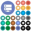Network drive multi colored flat icons on round backgrounds. Included white, light and dark icon variations for hover and active status effects, and bonus shades on black backgounds. - Network drive round flat multi colored icons