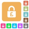 Locked Pounds rounded square flat icons - Locked Pounds flat icons on rounded square vivid color backgrounds.
