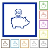 Israeli new Shekel piggy bank flat framed icons - Israeli new Shekel piggy bank flat color icons in square frames on white background