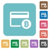 Bitcoin credit card rounded square flat icons - Bitcoin credit card white flat icons on color rounded square backgrounds
