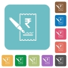 Signing Rupee cheque rounded square flat icons - Signing Rupee cheque white flat icons on color rounded square backgrounds