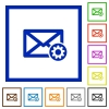 Mail settings flat framed icons - Mail settings flat color icons in square frames on white background