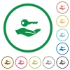 Security service flat color icons in round outlines on white background - Security service flat icons with outlines