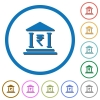 Indian Rupee bank office icons with shadows and outlines - Indian Rupee bank office flat color vector icons with shadows in round outlines on white background