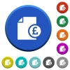 Pound financial report beveled buttons - Pound financial report round color beveled buttons with smooth surfaces and flat white icons