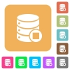 Database macro stop rounded square flat icons - Database macro stop flat icons on rounded square vivid color backgrounds.