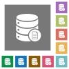 Database properties square flat icons - Database properties flat icons on simple color square backgrounds
