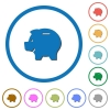 Left facing piggy bank icons with shadows and outlines - Left facing piggy bank flat color vector icons with shadows in round outlines on white background