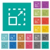 Maximize element square flat multi colored icons - Maximize element multi colored flat icons on plain square backgrounds. Included white and darker icon variations for hover or active effects.