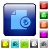 Turkish Lira financial report color square buttons - Turkish Lira financial report icons in rounded square color glossy button set