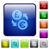 Pound Euro money exchange color square buttons - Pound Euro money exchange icons in rounded square color glossy button set