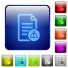 Document error color square buttons - Document error icons in rounded square color glossy button set